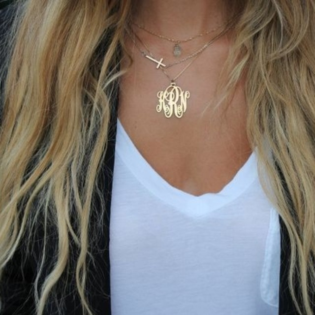24k Gold Plated Monogram Necklace - Onecklace