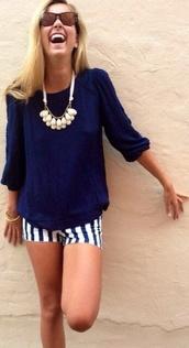 blouse,top,striped shorts,navy,girly,cute,pretty,shorts,fashion,style,dress