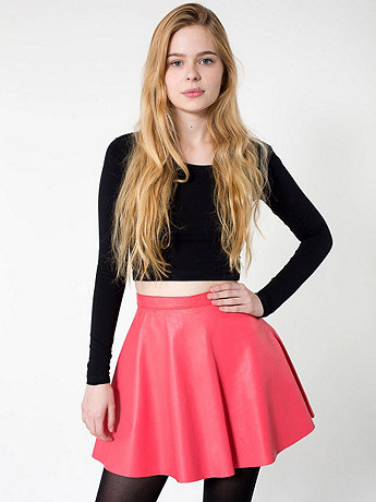 Lambskin Leather Circle Skirt | American Apparel