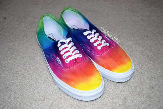 Tie Dye Rainbow Vans by StylishAndChic on Etsy