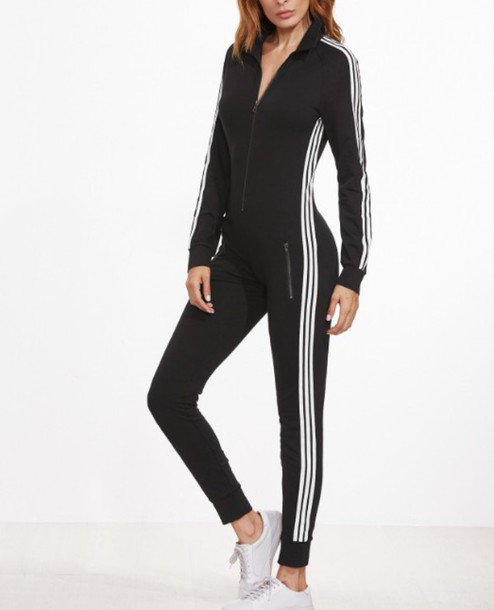 Jumpsuit Adidas Black White Stripes Zip One Piece Wheretoget