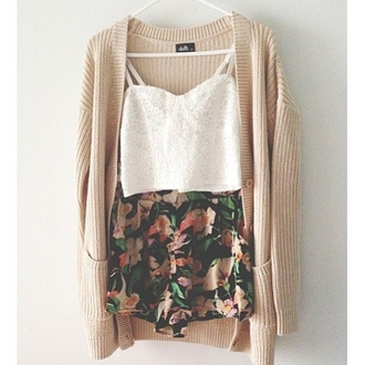 shorts flowered shorts jacket sweater shirt cardigan flowers girly tank top nude crop top bustier ootd