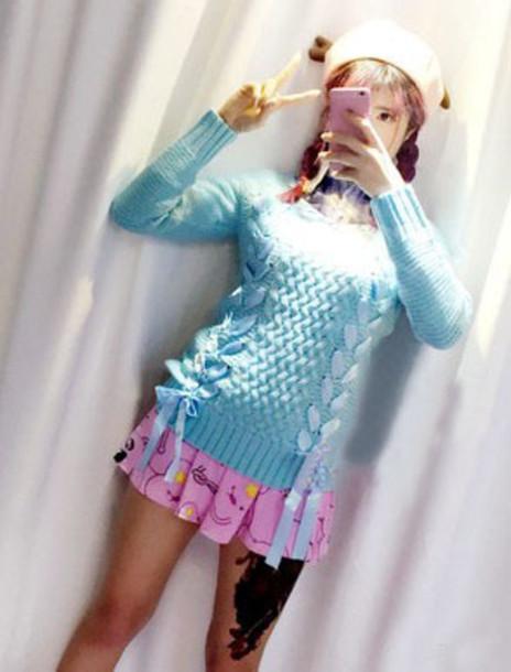 sweater korean fashion skirt hat
