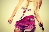 shorts,pink,studded,ripped,denim,high waisted denim shorts,tank top