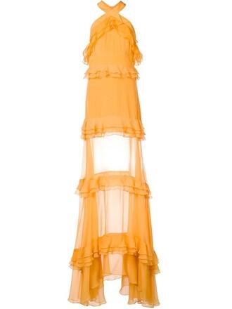 gown ruffle women silk yellow orange dress