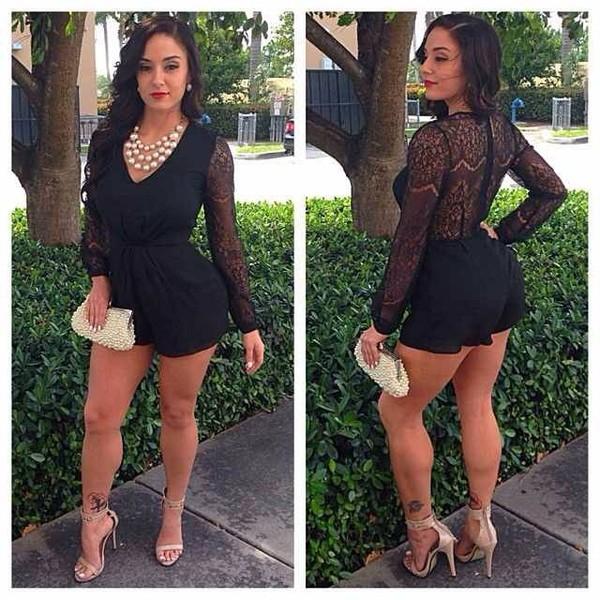 shorts romper romoer lace black