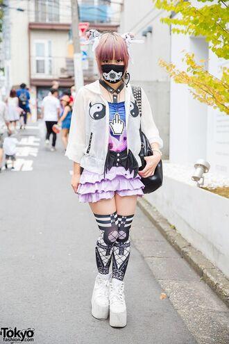 socks jfashion japan japanese japanese fashion korean fashion korean style kfashion cute kawaii thigh highs thigh socks skirt pastel yin yang galaxy print white black pastel skirt ruffle jacket japanese streets harajuku