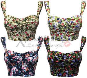 Womens ladies flower print strap bra top crop tops vest bandeau bralet boobtube