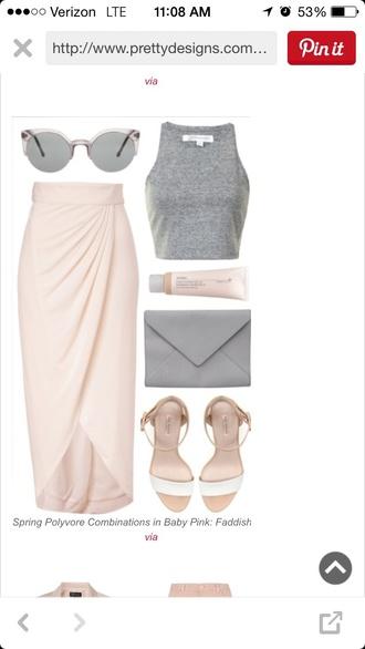 skirt long fitted skirt pink tank top grey crop tops grey tank top