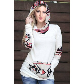 sweater hoodie rose wholesale winter sweater casual white sweater indie tribal pattern pretty spring fall outfits