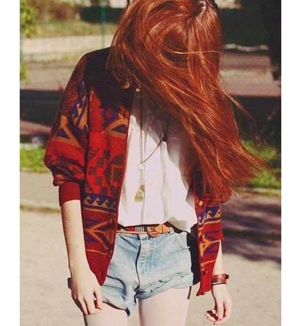 sweater aztec red belt jewelry grunge alternative hipster boho soft grunge