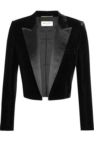 blazer cropped velvet satin black jacket