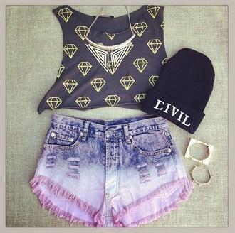 shirt diamonds shorts tie dye short shorts beanie necklace civil jewels hat blouse