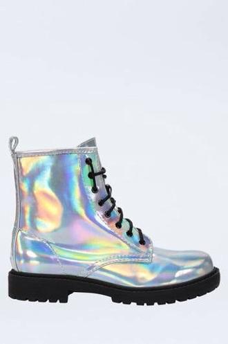 shoes metallic grunge boots