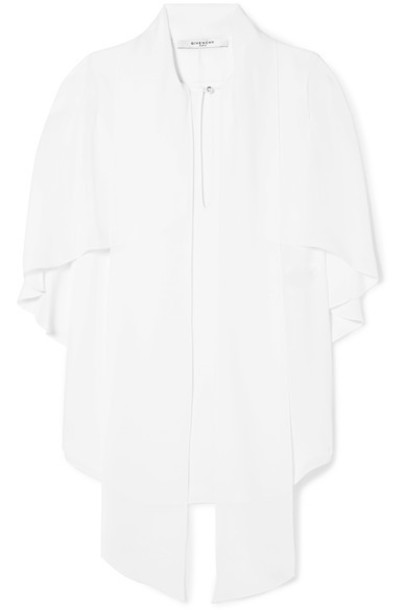 Givenchy blouse cape bow white silk top