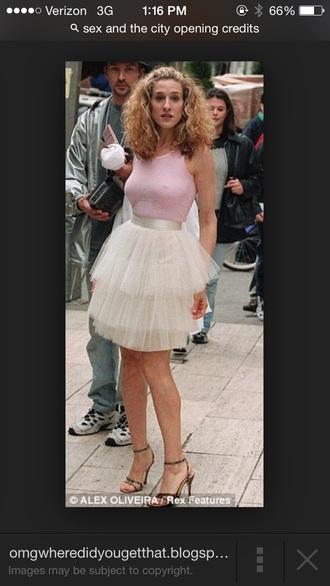 carrie bradshaw pink skirt chiffon tulle skirt