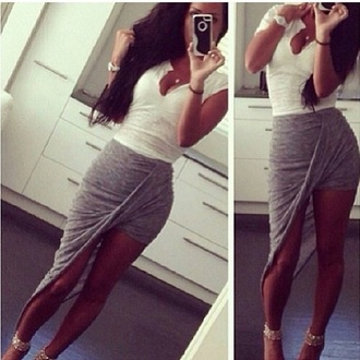 skirt bag shirt shoes top grey skirt asymmetrical skirt