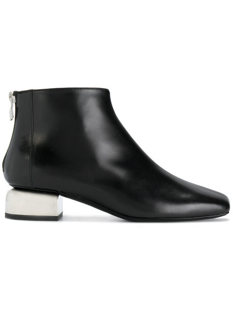 heel women ankle boots leather black shoes