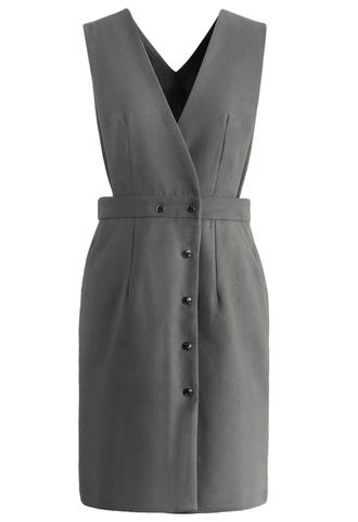 dress elegant demeanor pinafore dress in grey chicwish grey
