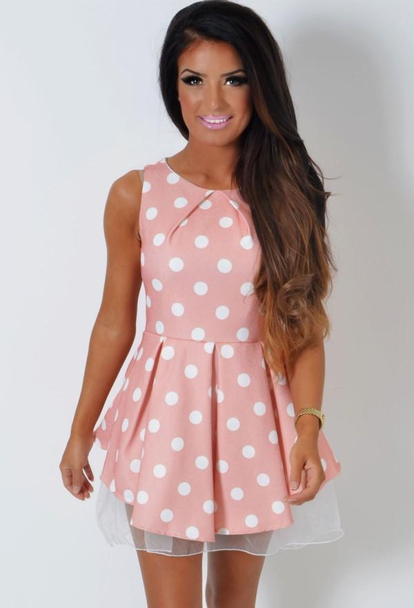 skater dress polka dots pink