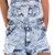 Acid Wash Destroyed Denim Overall Shorts
