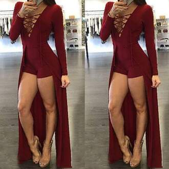 jumpsuit dress nicki minaj black black dress i need a couple of these!! romper wine red long sleeves burgundy burgundy dress sexy club dress style lace up high low dress prom homecoming red dress red short dress sexy dress long summer red playsuit sexy playsuits