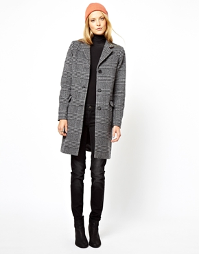 ASOS | ASOS Mono Check Longline Coat at ASOS