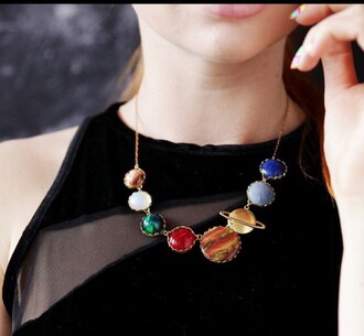jewels necklace jewelry space galaxy jewelry planets home accessory statement necklace choker necklace greatest planet on earth girly want instagram tumblr