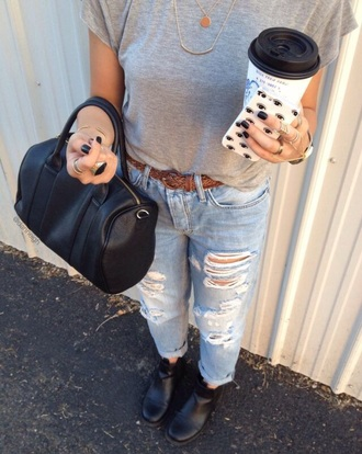 jeans ripped jeans phone cover on point clothing denim boyfriend jeans boots black boots ankle boots belt black bag bag grey grey top grey t-shirt eyes tumblr date outfit lifestyle travel casual jewels indie cool girl tumblr outfit blogger women gorgeous fashionista chill rad top
