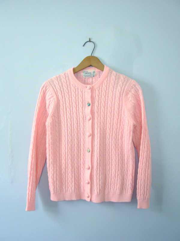 Cardigan: pink, pink sweater, pink top, retro, pin up, cute ...
