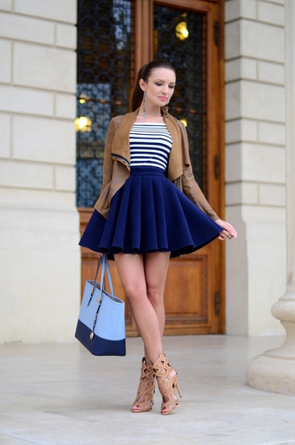 my silk fairytale blogger high waisted skirt navy skirt navy brown leather jacket striped top blue bag