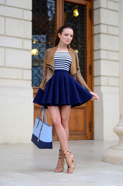 Jacket: my silk fairytale, blogger, high waisted skirt, navy skirt ...