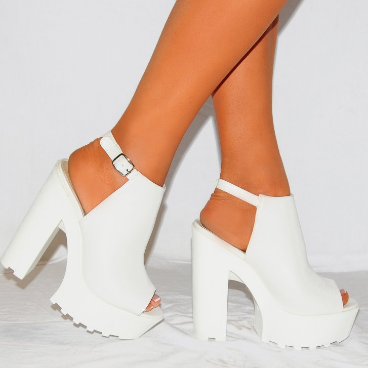 Womens White Pu Leather Chunky Platforms Cleated High Heels