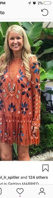 dress,free people,orange dress,embroidered dress
