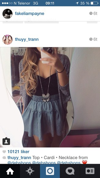 denim skirt denim skirt necklace top