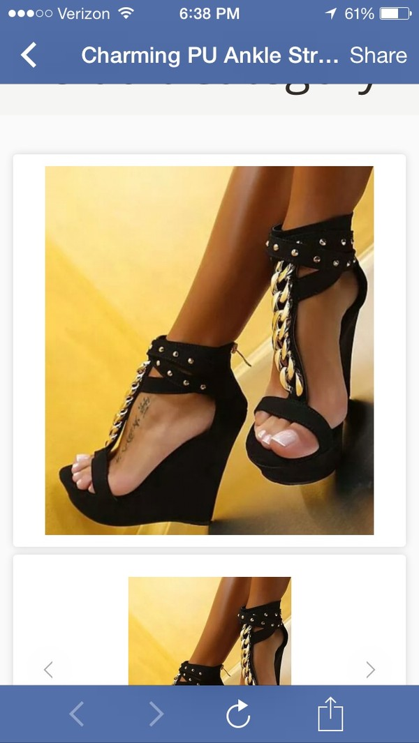 shoes black wedges sandals gold chain wedges cute wedges sexy wedges