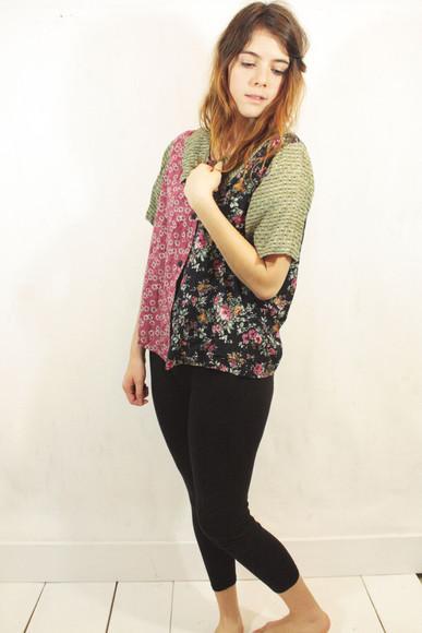 model retro vintage blouse pattern mix indie grunge alternative floral shirt button up button up shirt button up blouse