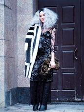 gvozdishe,blogger,coat,dress,shoes,bag,faux fur coat,black dress,boots,clutch