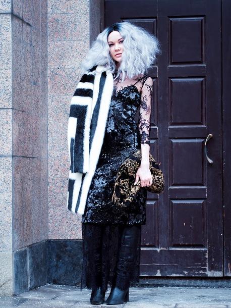 gvozdishe blogger coat dress shoes bag faux fur coat black dress boots clutch