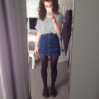 skirt denim jeans black blue jeans denim skirt t-shirt shirt white t-shirt striped shirt