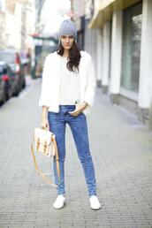 from brussels with love,blogger,jeans,knitted beanie,satchel bag,fluffy,white jacket,sweater,coat,shoes,bag,spring jacket