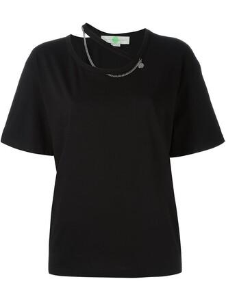 t-shirt shirt metal women cotton black top