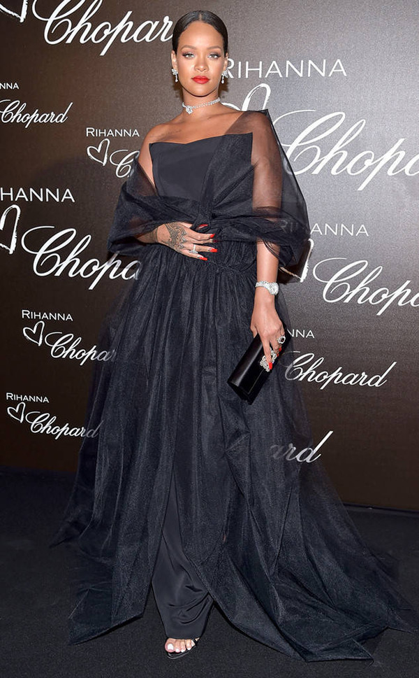 dress gown black dress rihanna cannes strapless bag