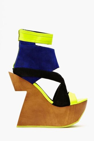 shoes platform shoes platform wedge wedges wooden sole wedge heels wedge sandals summer wedges yellow shoes neon yellow heels cut out heels multicolor