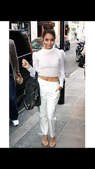 shirt vanessa hudgens white white crop tops fashion beautiful