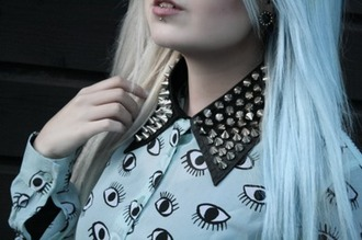 blouse punk eyes pastel pastel goth studs studded blouse spiked collar