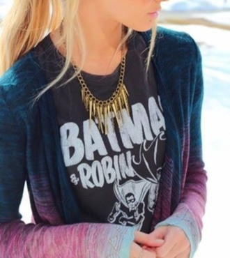 t-shirt black white batman and robin sweater jewels shirt