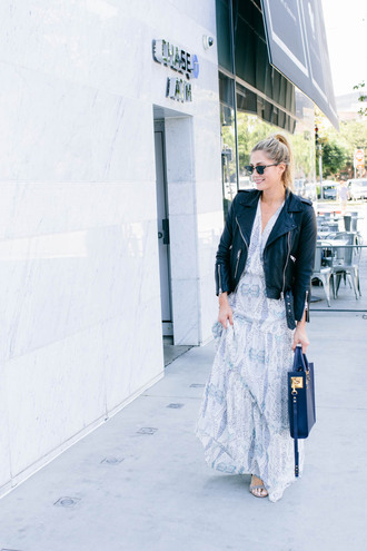 devon rachel blogger dress shoes sunglasses leather jacket biker jacket maxi dress blue bag summer dress blue dress