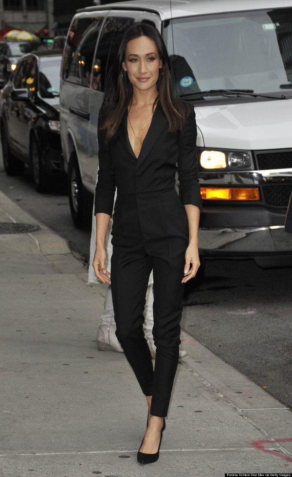 jumpsuit black fall outfits maggie q