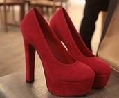 shoes,red,heels,velvet,suede,high heels